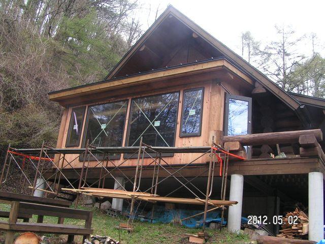2012/05/02 北杜市TT様邸サンルーム増築工事、外壁板張り完了