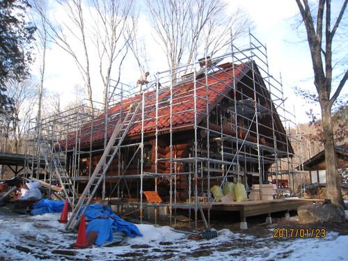 屋根西側施工中